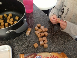 My daughter handled the unwrapping of all the caramels